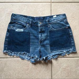 Lucky Brand Boyfriend Patchwork Cutoff Jean Shorts